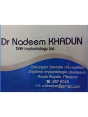 Dr Nadeem Khadun - DNK Implantology Company LTD - business card