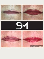Sian Mortimer Permanent Cosmetics - Lip transformation  - top L before, top R after initial, bottom L 4 weeks healed, bottom R after top up