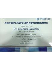 Quintessence Family Dentistry & Wellness - Dr. Krithika M Jayaram- Certificate for Invisalign practice