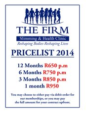 THE FIRM Umhlanga - PRICELIST