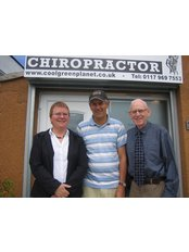 Chiropractor @ 83 Gloucester Road Patchway - Dr Leah, patient, and Eddie (Practice Mgr)